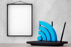 Modern WiFi Router with WiFi sign in front of Brick Wall with Bl Royalty Free Stock Images