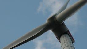 modern wind turbine as seen from below