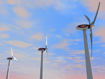 Modern wind turbines. Three dimensional illustration of modern wind turbines with blue sky and cloudscape background Stock Photos