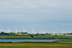 Modern windmills. In denmark, summer Royalty Free Stock Image