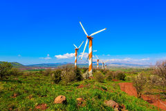 The modern windmills and  Mount Hermon Royalty Free Stock Photo