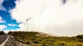 Modern windmills producing eco energy stock video footage