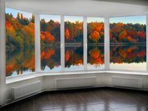 Modern window to the autumnal forest lake Stock Photo