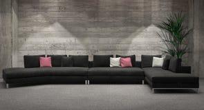 Modern windowless living room interior Royalty Free Stock Photos