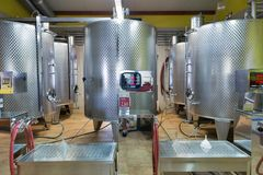 Modern wine aluminum barrels. Vinakoper winery in Koper, Slovenia. Royalty Free Stock Photo