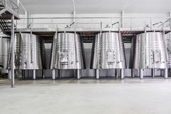 Modern wine cellar with stainless steel tanks Stock Photo