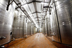 Modern wine factory. With large storage tanks Stock Photo