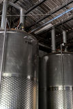 Modern wine factory. With large storage tanks Royalty Free Stock Photos