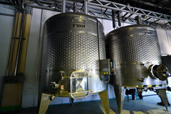 Modern wine factory. With large storage tanks Stock Photos