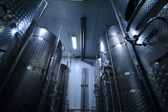 Modern wine factory. With large storage tanks Royalty Free Stock Photography