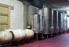 Modern wine factory with large tanks for the fermentation Royalty Free Stock Photos