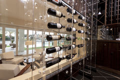Modern wine storage shelves Stock Photos