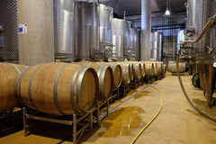 Modern winery with aluminium tanks and wine barrels Stock Images