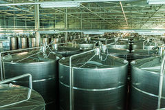 Modern winery with chrome tanks Stock Photo