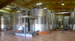 Modern winery fermenting process Royalty Free Stock Photos