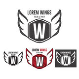 Modern wings shield template logo design. Monochrome, silhouette, color, retro rough versions. design isolated on white Stock Photography