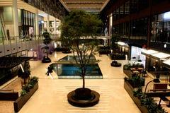 Modern winkelcomplex met binnen bomen en water, zeer rustiek gezien van een hoge mening stock fotografie