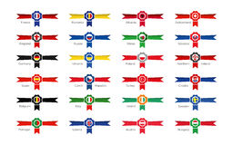 Modern Winner Symbols - Emblems and icons of the participating countries to the soccer tournament 2016 in france. Winner emblems of the participating countries Royalty Free Stock Images