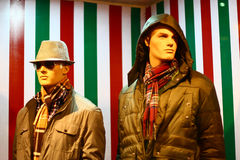 Modern Winter Clothing on Male Mannequins. In a retail shopping mall Royalty Free Stock Photos