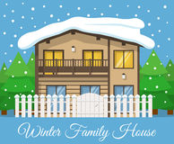 Modern winter country Family House Poster or Greeting Card. Vector illustration Royalty Free Stock Photography