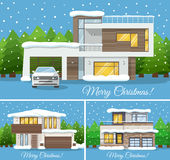 3 in 1 Modern winter Family House with car Poster or Greeting Card for Christmas. Vector illustration Stock Photo
