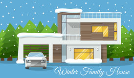 Modern winter Family House with car Poster or Greeting Card. Vector illustration Stock Image