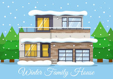 Modern winter Family House Landscape with forest in the background, Greeting Card. Vector illustration Stock Image