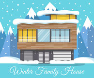 Modern winter Family House Landscape with mountains in the background, Greeting Card.  Stock Image