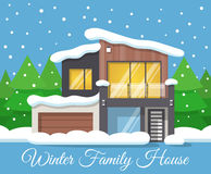 Modern winter Family House Poster or Greeting Card. Vector illustration Stock Photo