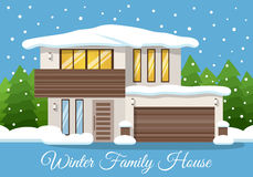 Modern winter Family House Poster or Greeting Card. Vector illustration Royalty Free Stock Photo