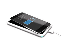 Modern wireless charger and phone 3d illustration. Stock Image