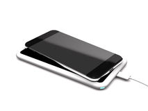 Modern wireless charger and smartphone 3d illustration. Stock Image