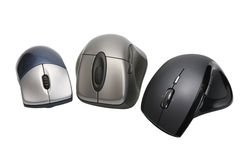 Modern wireless computer mouses. On white background, isolated stock photo
