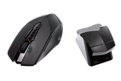 Modern wireless mouse and reciever Royalty Free Stock Photo
