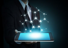 Modern wireless technology and social media. On tablet Stock Photo