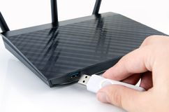 Modern wireless wi-fi router with DLNA server Stock Photo