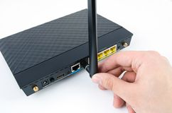 Modern wireless wi-fi router  Royalty Free Stock Photography