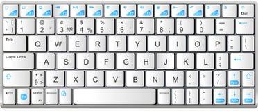 Modern wit met blauw laptop bluetooth toetsenbord Royalty-vrije Stock Fotografie