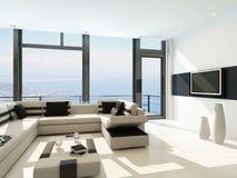 Modern wit woonkamerbinnenland met schitterende zeegezichtmening Royalty-vrije Stock Fotografie