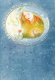 Modern witch book cover illustration Stock Image