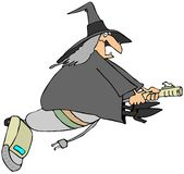 Modern witch. This illustration depicts a witch flying on an upright vacuum cleaner Stock Photography
