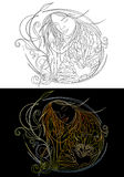 Modern witch ink drawing. Two modern witch ink drawings Royalty Free Stock Photography