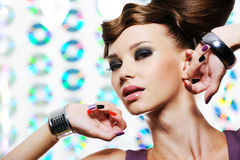 Modern woman with bright make-up Royalty Free Stock Photos