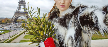 Modern woman with Christmas tree taking selfie in Paris Stock Photo