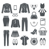 Modern Woman Clothes Black Icons Stock Photo