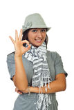 Modern woman in hat showing okay Royalty Free Stock Photo