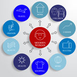 Modern woman info graphic and icon set, lifestyle Stock Image