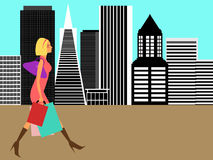 Modern Woman Shopping in the Big City Royalty Free Stock Image