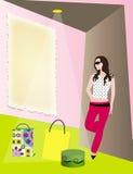 Modern woman at shopping mall Stock Photo