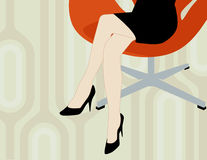 Modern Woman Sitting. In cool office chair with 1970s background. Easy-edit layered vector file--No transparencies or strokes Stock Images